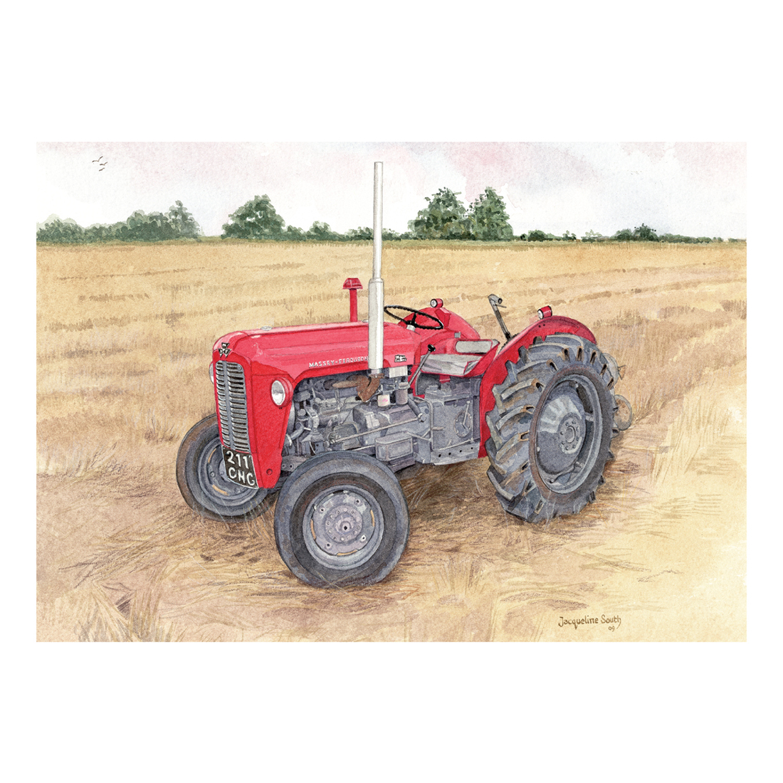Red Tractor in watercolour