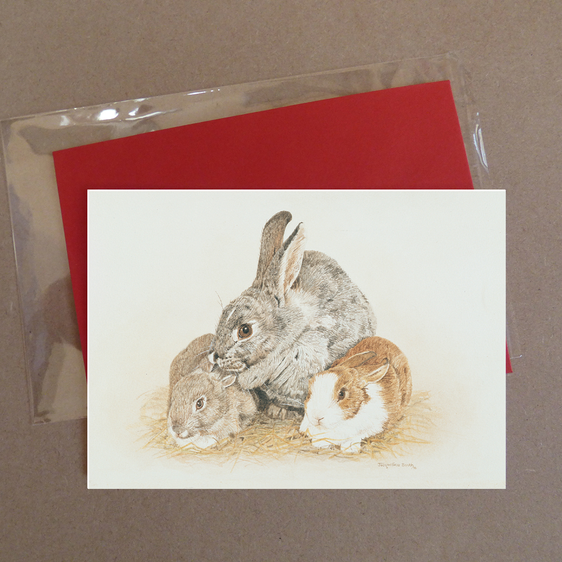 3 Rabbits Greeting Card